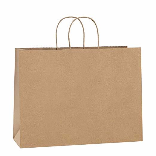 Amazon Com Bagdream 16x6x12 Inches 50pcs Black Kraft Paper Bags With Handles Bulk For Shopping Grocery Mechandise Par Paper Bag Retail Bags Paper Gift Bags