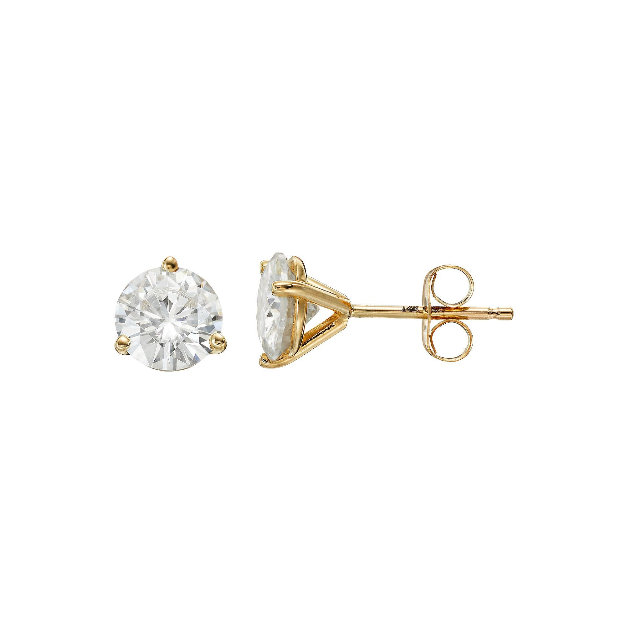 and pid mo gold yellow earrings halo moissanite diamond round