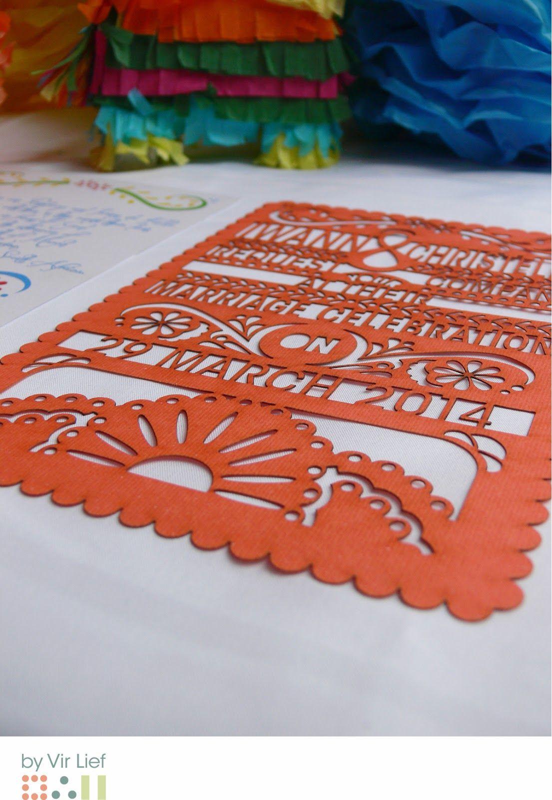 Colourful mexican themed wedding invitations by Vir Lief - lazer cut ...