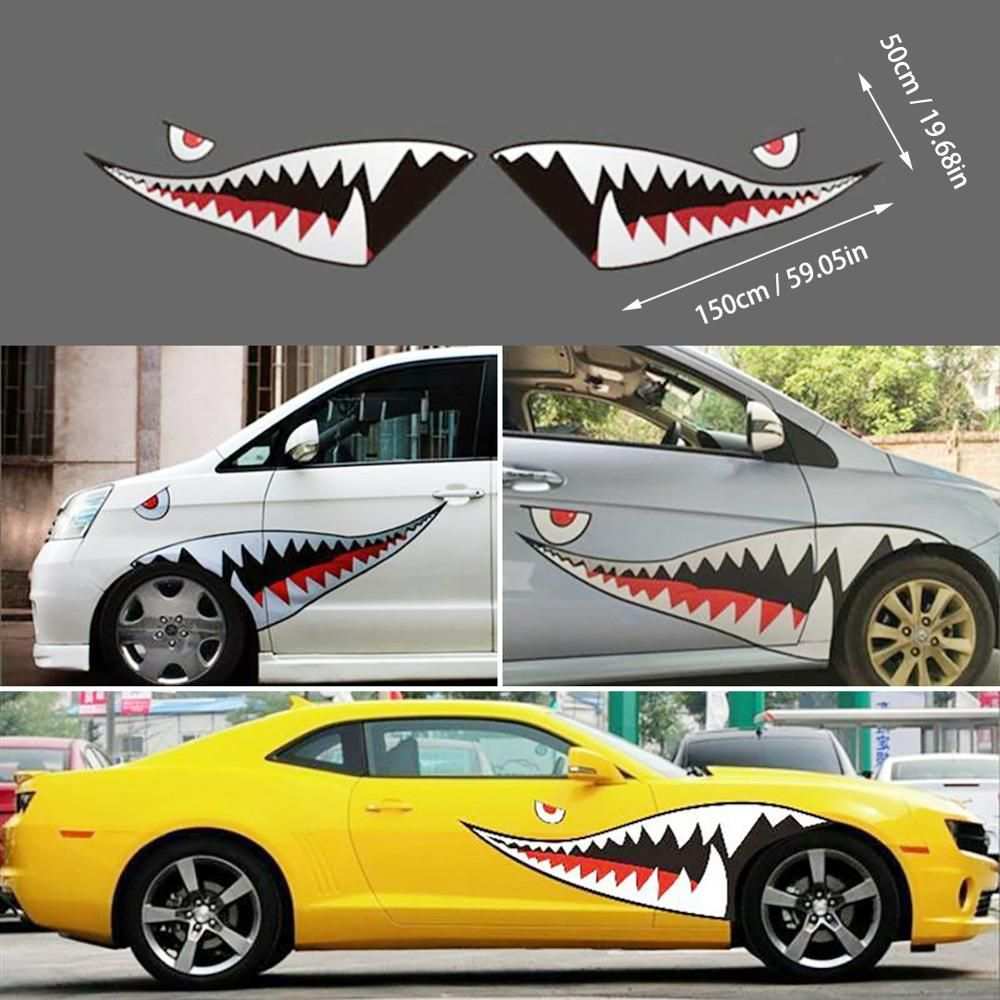 Material Pvc Color As Pictures Show Dimension Shark Teeth Mouth Sticker With Red Eyes 150 50cm 59 20 Inches Ap Vinyl Exterior Vinyl Car Stickers Car [ 1000 x 1000 Pixel ]