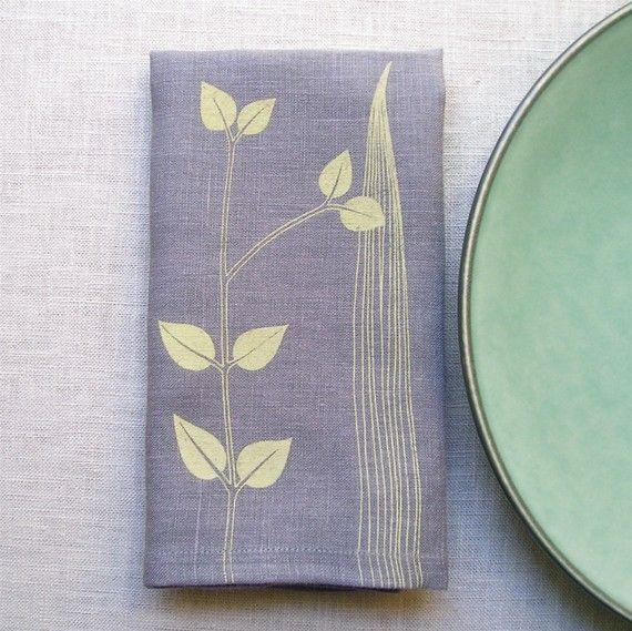 Napkins - Gray Linen Screen Printed Botanical