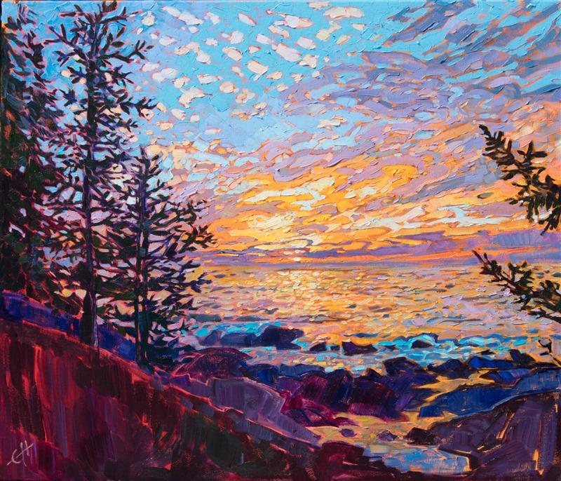 A Dramatic Sunrise Sends Scintillating Light Across The Coastal Landscape Of Acadia Natio Contemporary Impressionism Oil Painting Landscape Landscape Paintings