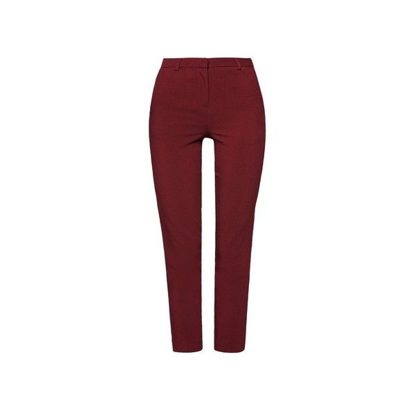 TOPSHOP Cigarette Trousers ($44) ❤ liked on Polyvore featuring pants, capris, high waisted cigarette trousers, high-waisted pants, high-waist trousers, red trousers and cigarette trousers