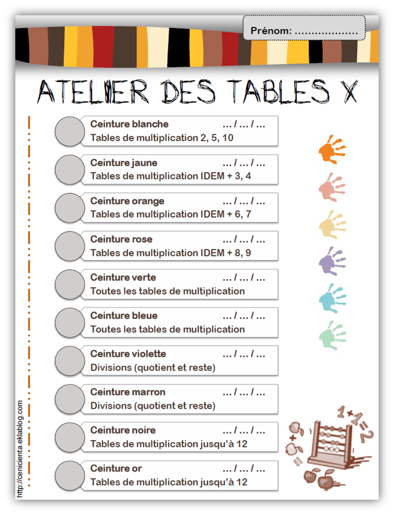 Cm math matiques ceintures de comp tences tables de - Exercice table de multiplication cm1 ...