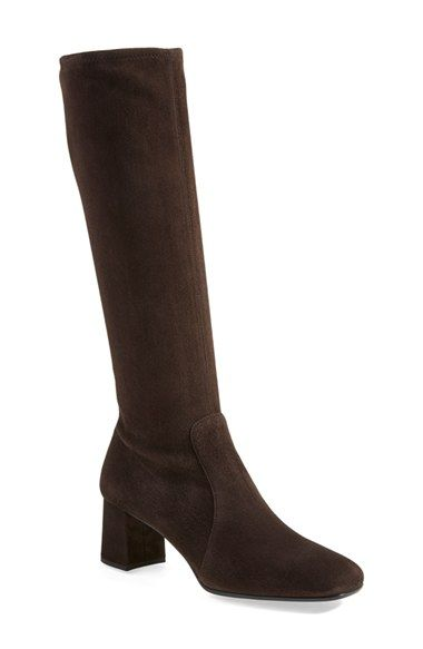 Prada Tall Suede Boot (Women) available at #Nordstrom dark brown