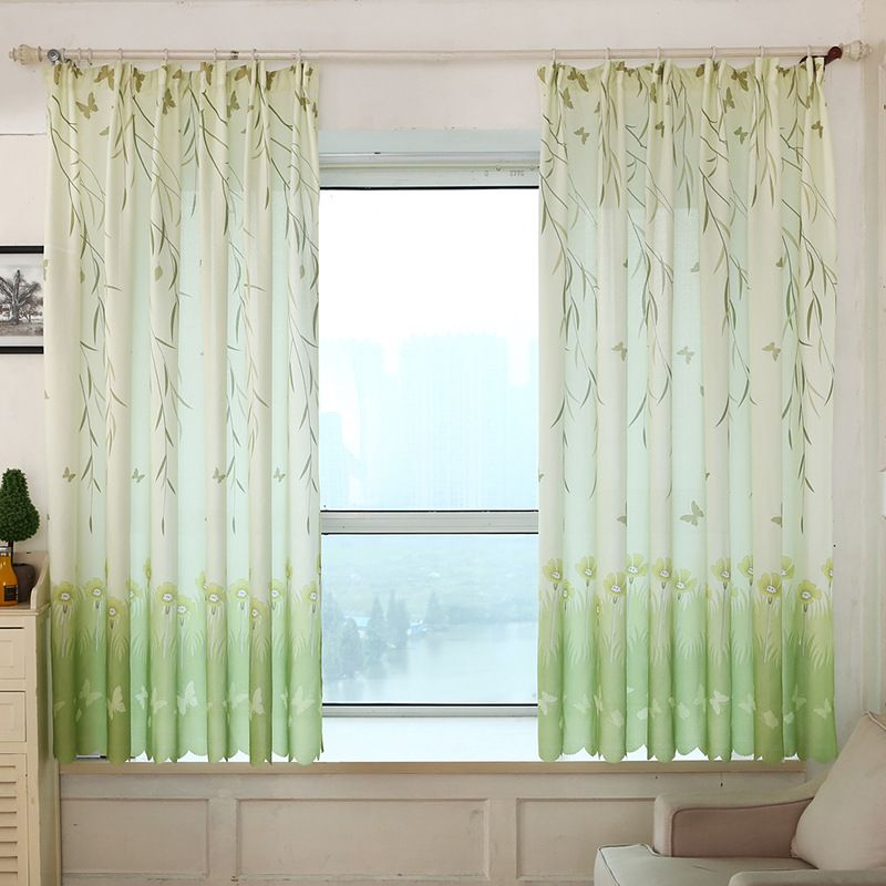 Willow Leaf Butterfly Printed Short Blackout Curtains For Kitchen Bedroom Balcony Living Room Decorat Curtains Living Room Modern Curtains Curtains Living Room
