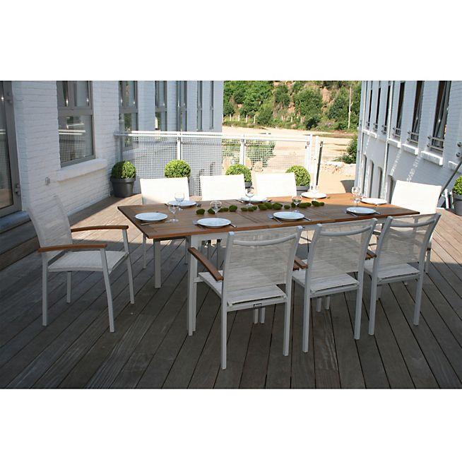 Montreal Jardin Table de jardin extensible en alu et eucalyptus (6 à ...