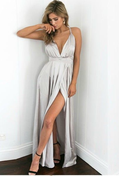 38bb8ea9c7 Silver Satin V Neck Long Dress