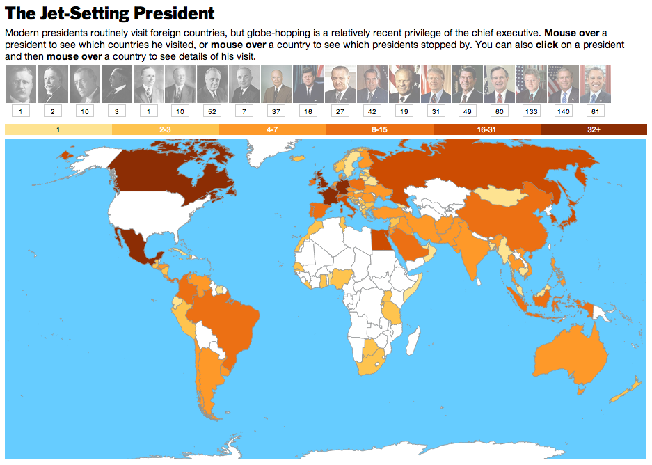 Interactive Where US Presidents Fear To Tread - Us map by number of presidents
