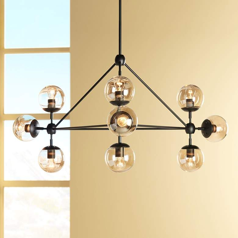 Possini Euro Gable 40 Wide Black Modern 10 Light Chandelier 1g918 Lamps Plus Black Chandelier Chandelier Lighting Affordable Lighting