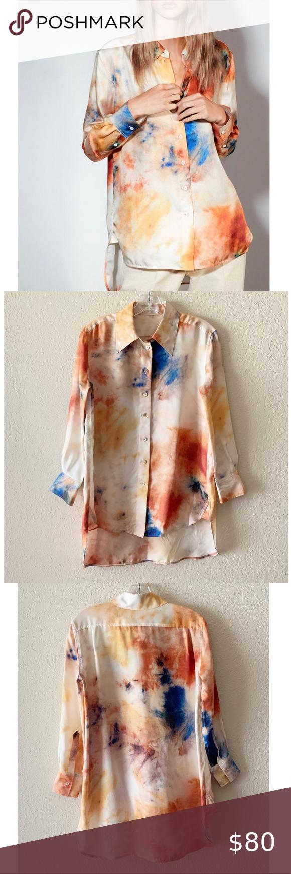 Aritzia Wilfred Lefou Celestine Tie Dye Silk Shirt Aritzia Silk Shirt Tie Dye [ 1740 x 580 Pixel ]