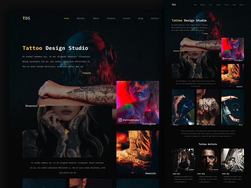 Tattoo Studio Website Web Layout Design Web Design Inspiration Website Design