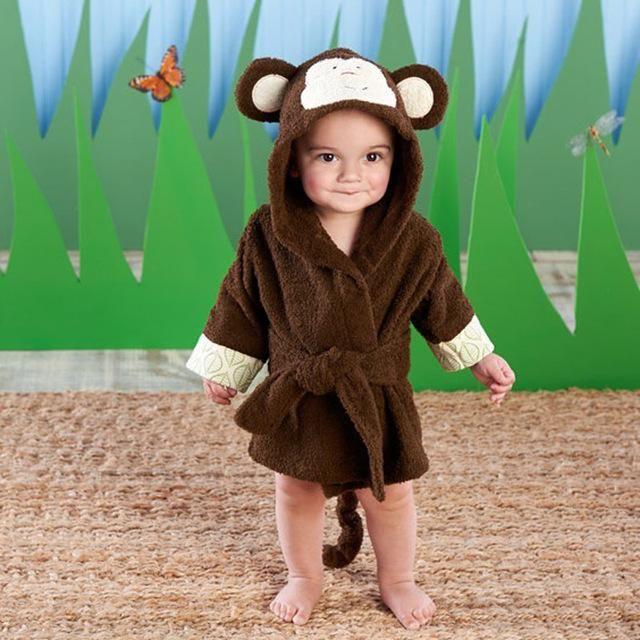 cb3cb5a4ca Baby Aspen Born to Be Wild Monkey Hooded Spa Robe