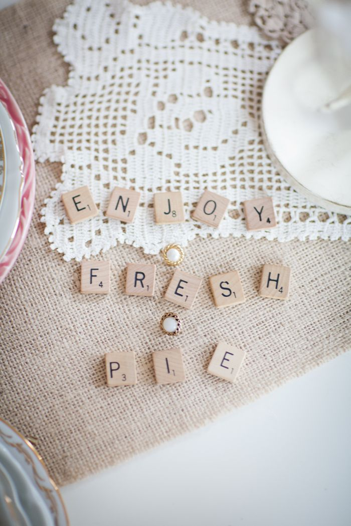 Dessert table: scrabble letters to label food.