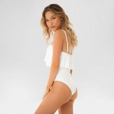 d75fd9d9babff Women's Ruffle Flounce Bandeau One Piece Swimsuit - Sugar Coast by Lolli  White XS