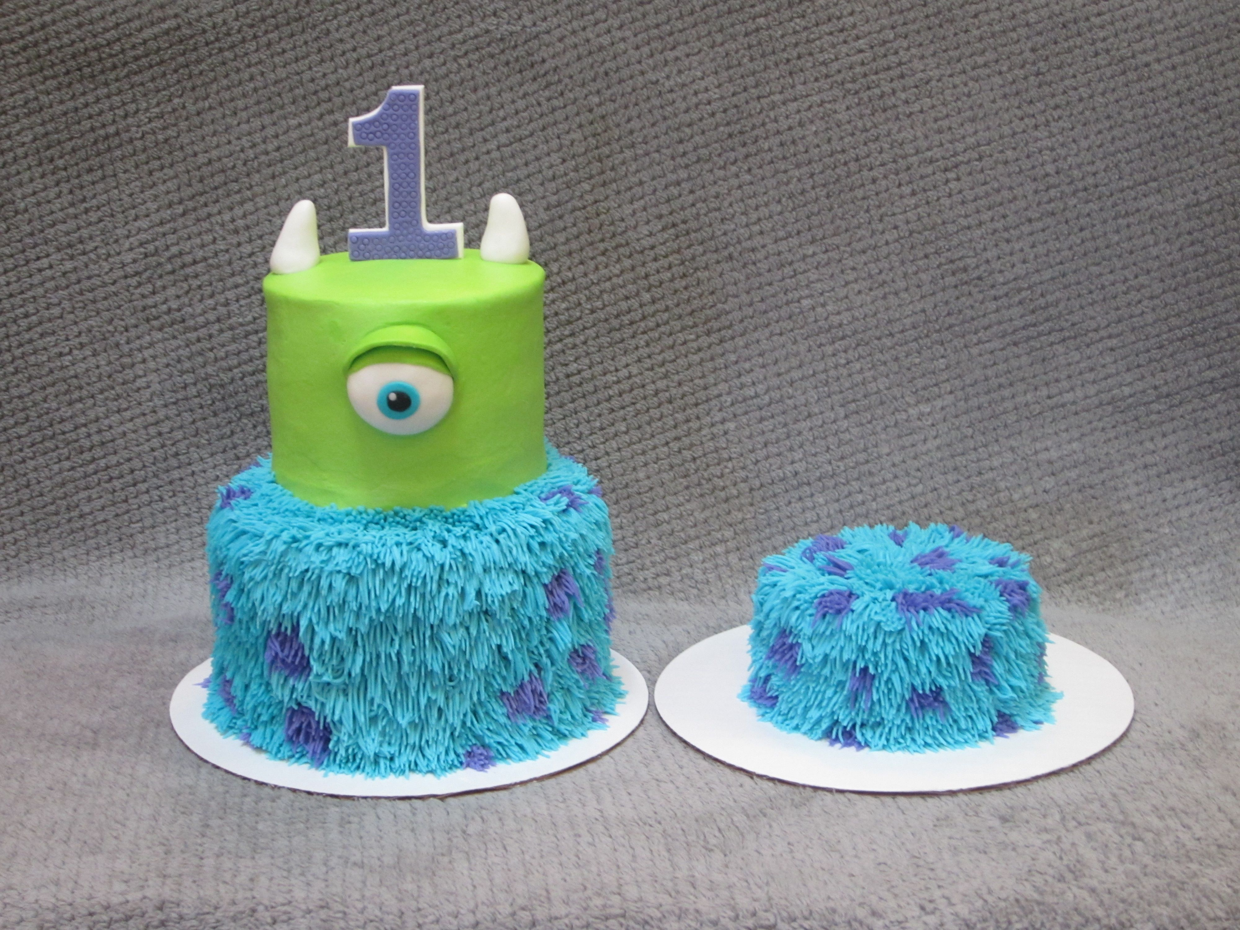 Monsters IncMonsters University themed birthday cake and smash cake