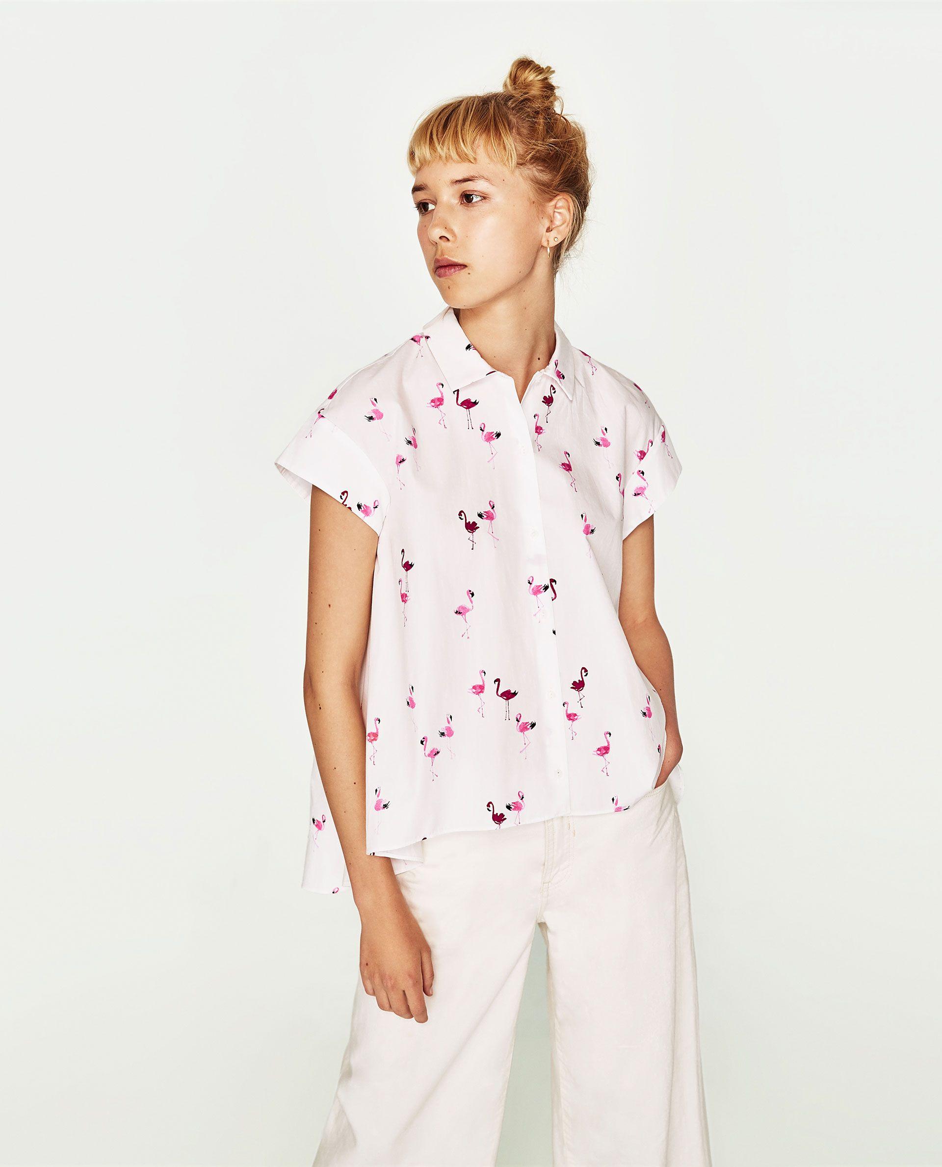 1810da4435 ZARA FLAMINGO SHIRT | clothes | Printed shirts, Flamingo shirt ...