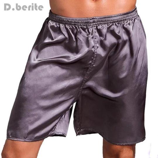 Mens Sleepwear Satin Silk Underwear Loose Boxer Shorts Pants Pajamas Nightwear