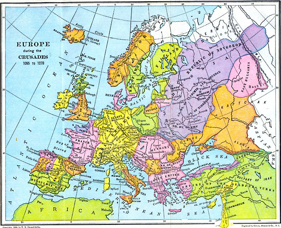 Europe During The Crusades 1095 1270 Historical Maps Europe