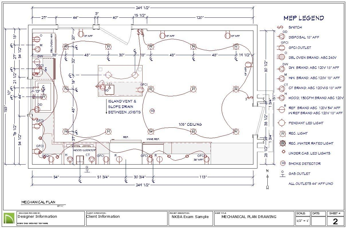 8 Electrical Mechanical And Plumbing Plan For The Nkba Ckbd Exam Electrical Plan How To Plan Plan Drawing