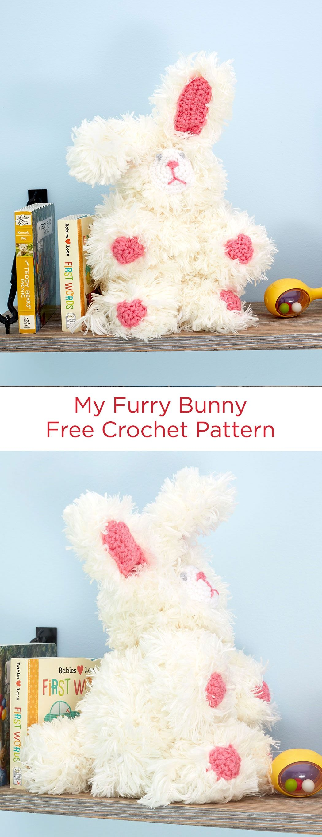 My Furry Bunny Free Crochet Pattern in Red Heart Yarns -- Crochet this sweet bunny as a gift that is sure to be hugged and loved! This furry friend is perfect for Easter or any time of the year.