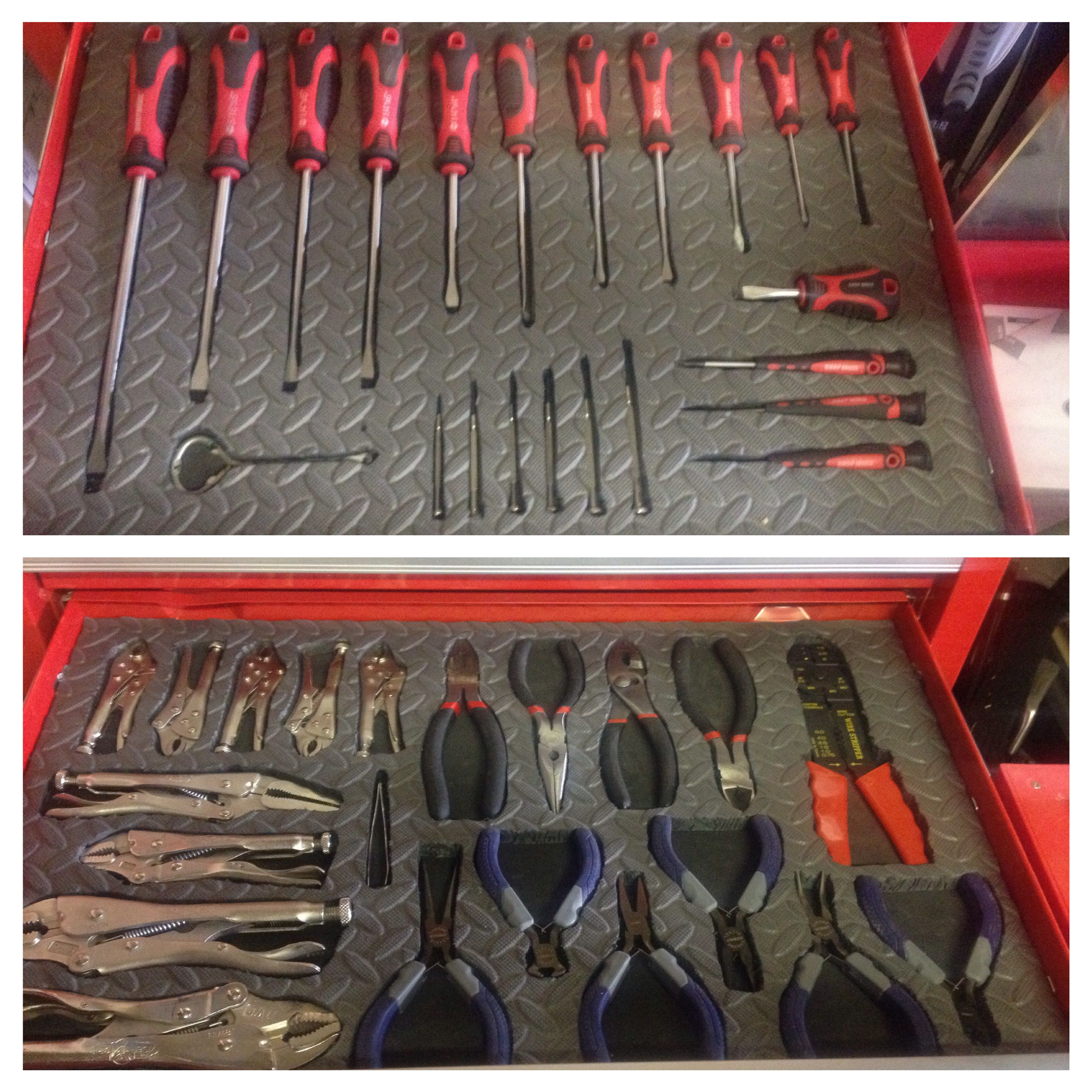 Made my own shadowed tool box using a hot knife and foam floor ...