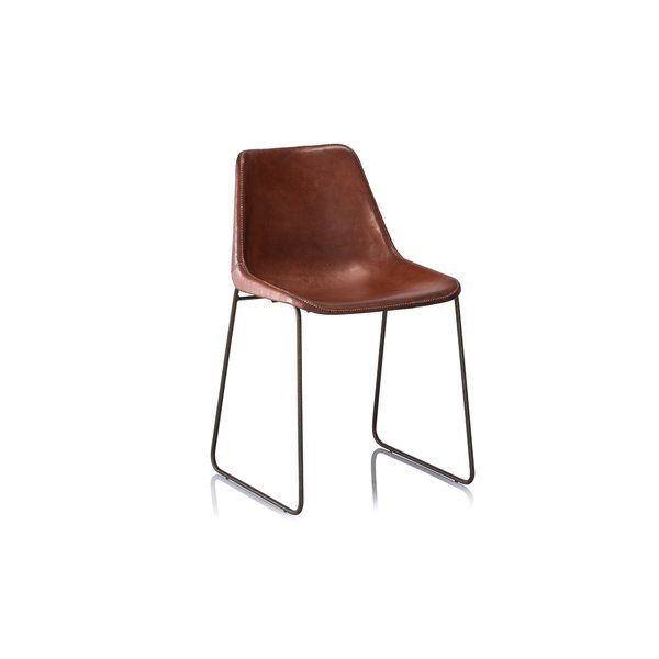 Hudson Leather Dining Chair Is Simple And Sturdy Stitched