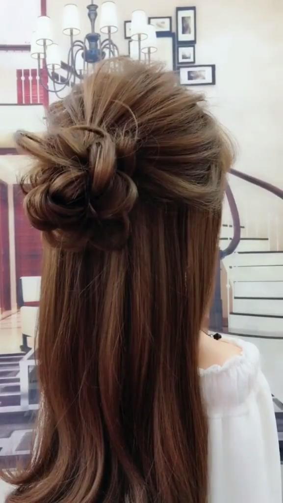 Super Beautiful Half Bun Hairstyle Video Hair Styles Hair Videos Bun Hairstyles