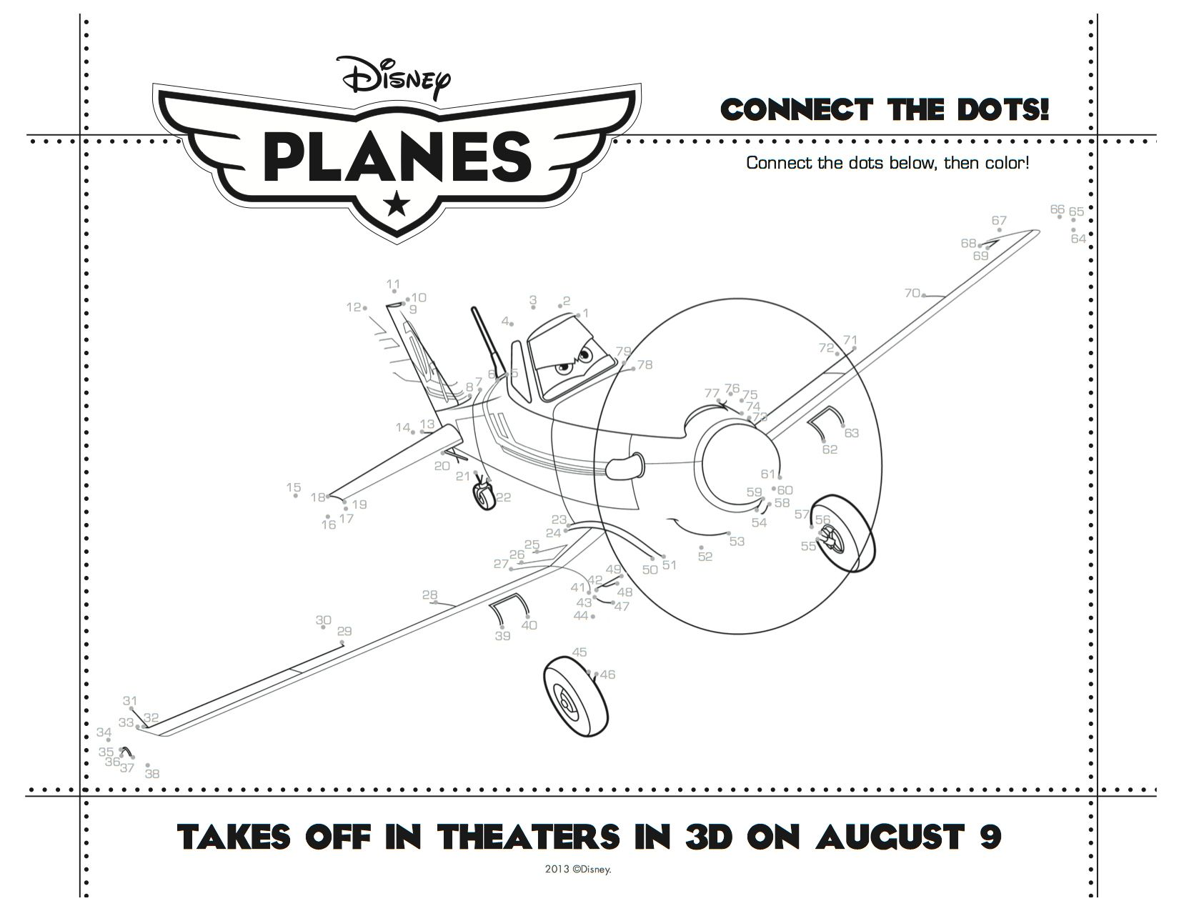 disney planes printable connect the dots printable coloring