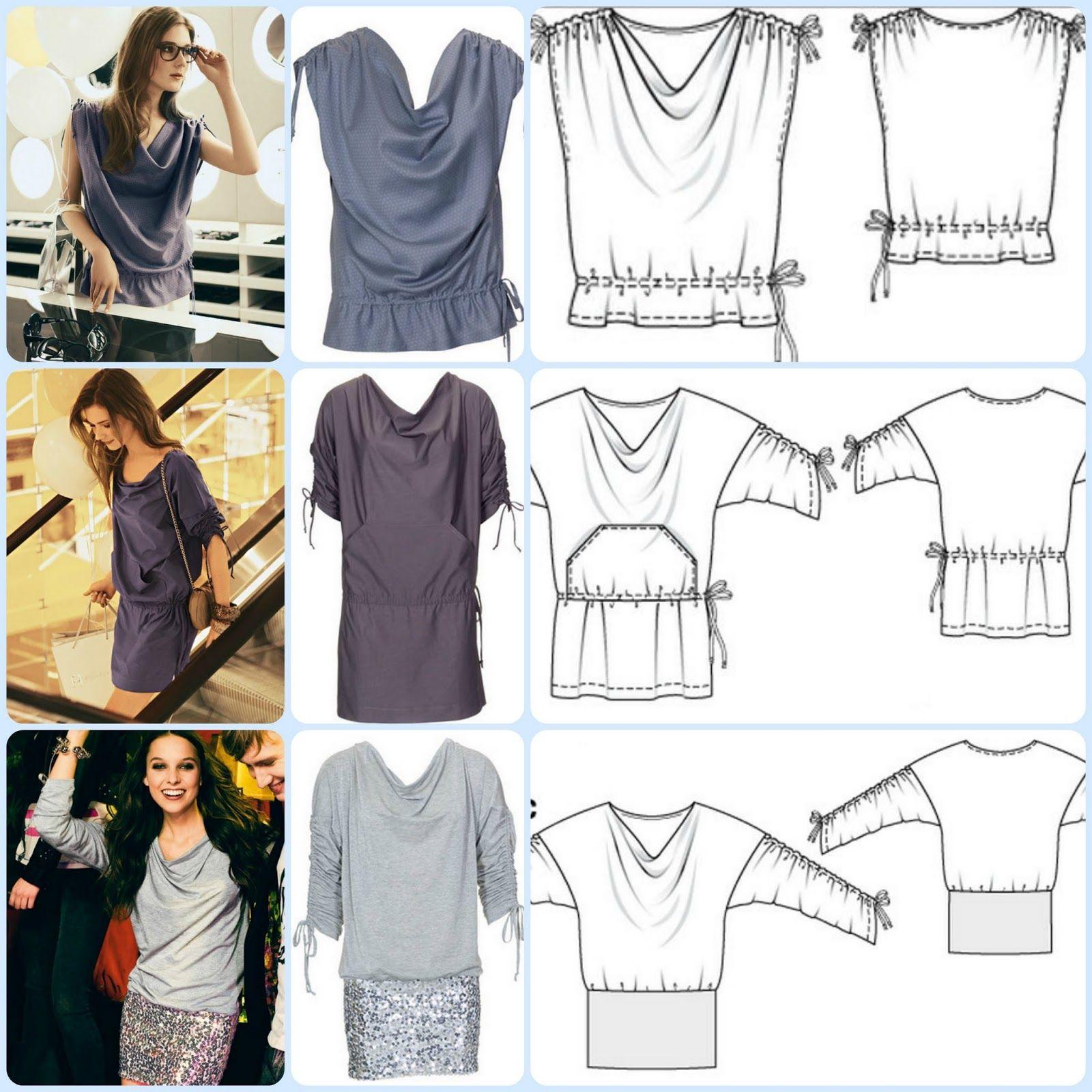 Varios modelos con un solo molde | Patronaje blusas, túnicas, etc ...
