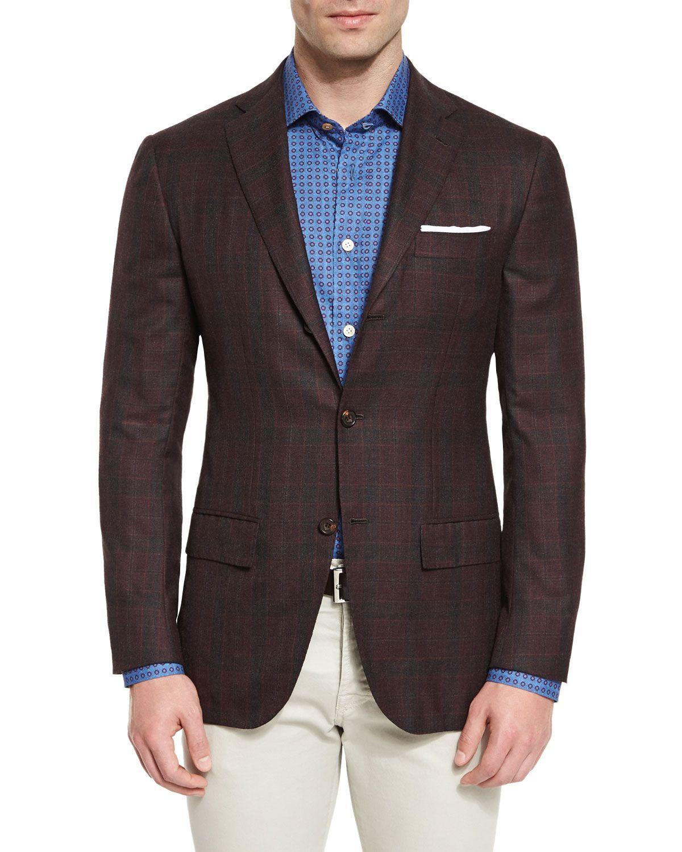 Kiton Plaid Cashmere Sport Coat, Burgundy Sport coat
