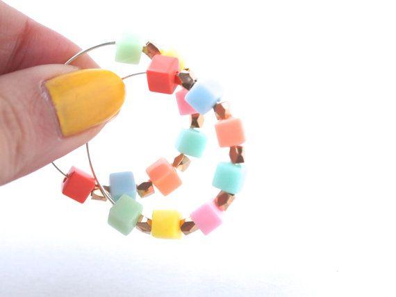 Colourful Pastel Beaded Hoop Earrings - Cute Colour Pastel Earrings - Pastel Beaded Hoops
