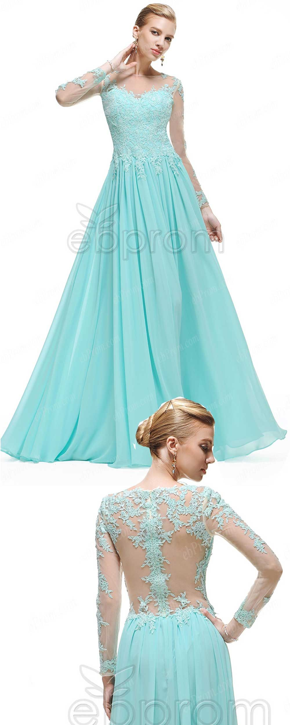 Modest blue backless prom dresses long sleeves embellished mesh back