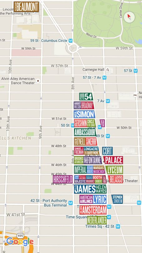 Map of all Broadway Theaters in New York City. | New York Dreams