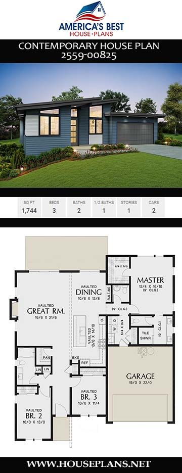 House Plan 2559 00825 Contemporary Plan 1 744 Square Feet 3 Bedrooms 2 5 Bathrooms Contemporary House Plans Contemporary House House Plans