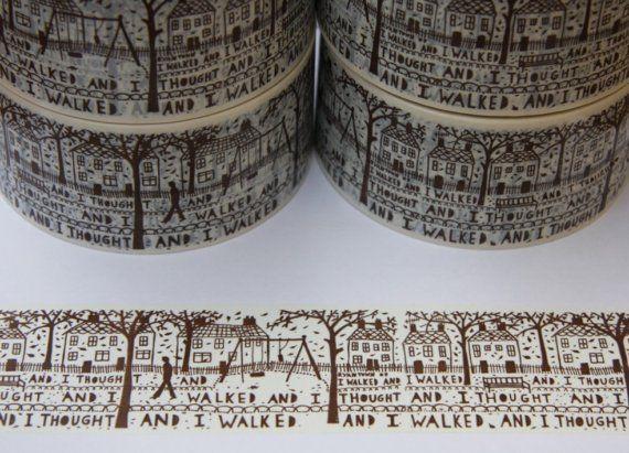 Gorgeous shipping tape. / Washi tape ancho espectacular, con ilustraciones de paisaje. Lo quiero, lo necesito! :)