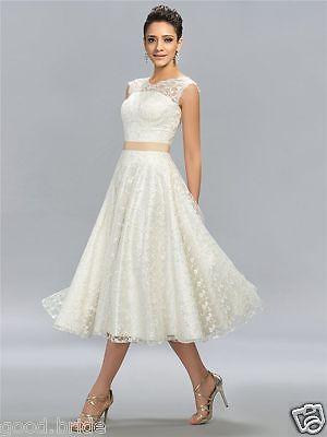 Vintage White/Ivory Tea Length Short Lace Wedding Dress Bridal Gown ...