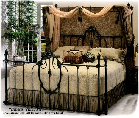 Elliott S Designs Emily Wrap 484 Complete Bed Wrap Half Canopy Wrought Rod Iron Beds Antique Bed Reproductions Camas De Iron Bed Iron Canopy Bed Rod Iron Beds