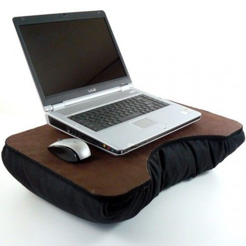 Large Brown Faux Leather Laptop Lap Desk With Black Pillow Bottom