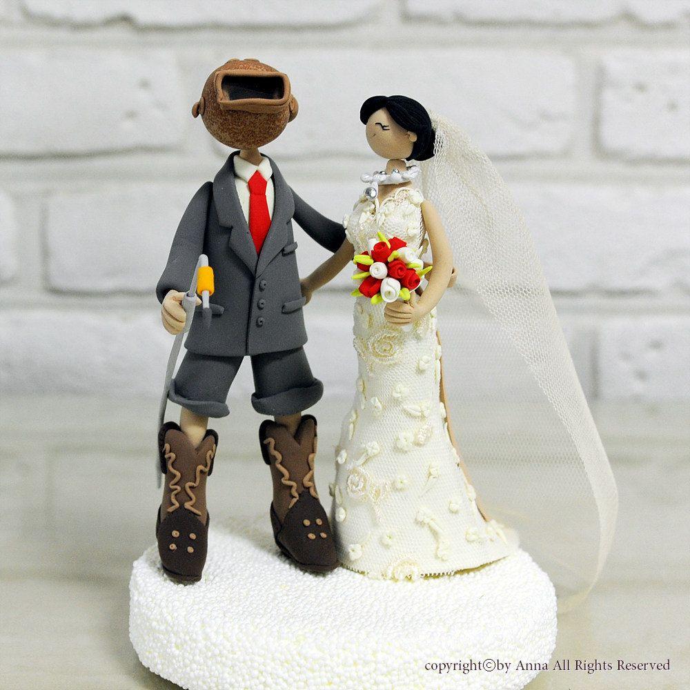 Welder Wedding Cake Topper Decoration With Helmet By Annacrafts
