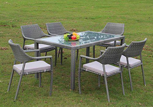 All weather rattan and aluminium bordeaux rectangular dining set - designer gartenmobel kenneth cobonpue