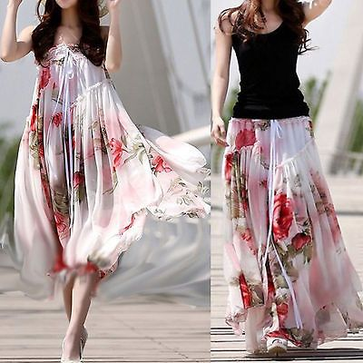 07fb73aac568 Hot Fashion Big Hem Elegant BoHO Lotus Leaf Summer Chiffon Maxi Long Skirt  Dress