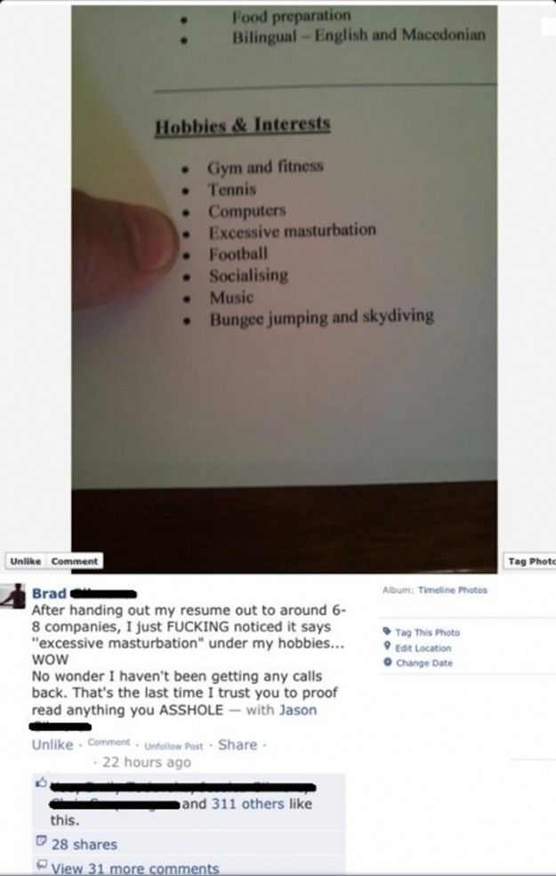 NEVER let a friend proofread your resume! misc/funny Pinterest