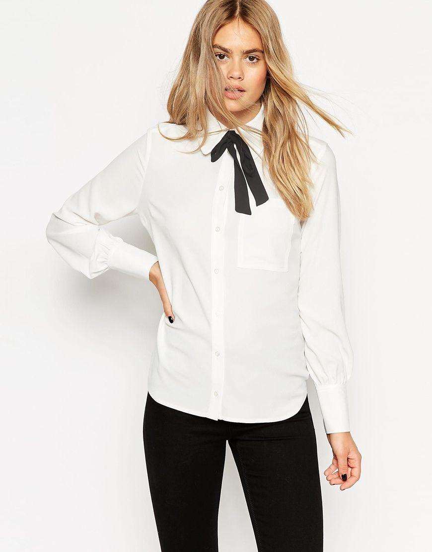 ASOS – Bluse mit kontrastierender Schleife im Stil der 70er Jahre