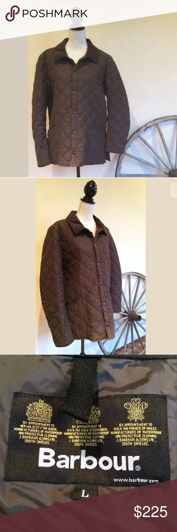 BARBOUR British Quilted Hunting Barn Jacket L NICE BARBOUR ...