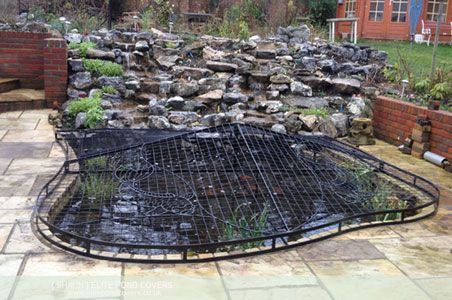 Covering koi pond with hog fence google search garden for Garden pond safety covers