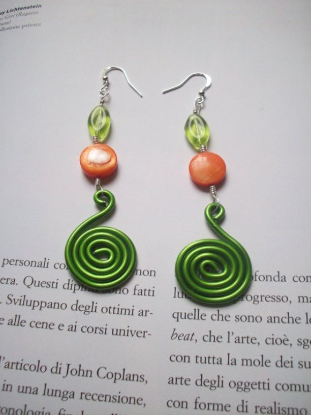Photo of Colored Aluminium Earrings with resin and glass beads ...