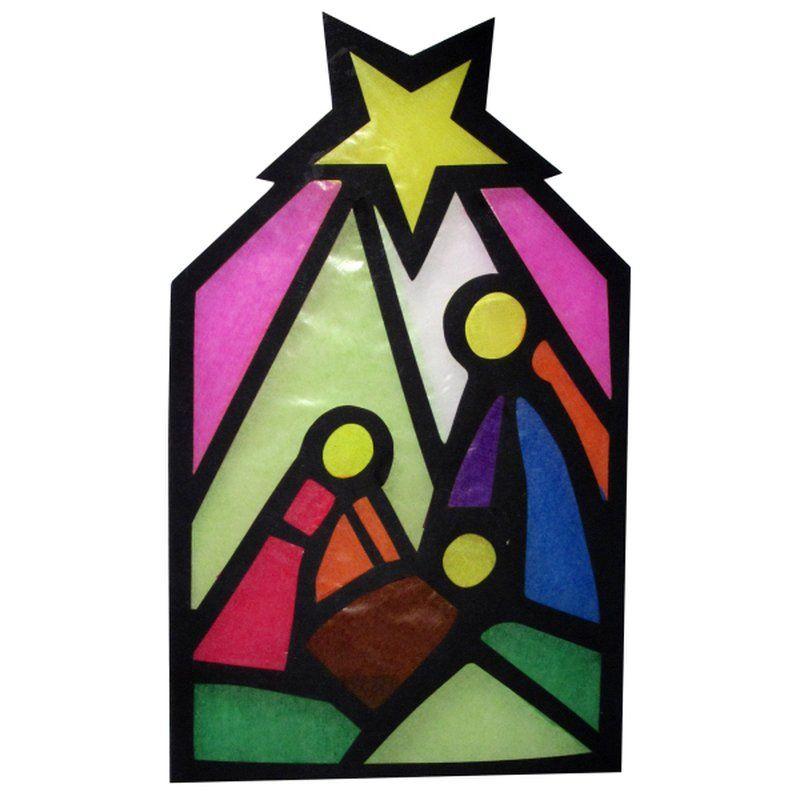 Bastelset Fensterbild Krippe 8teilig Basteln Weihnachten