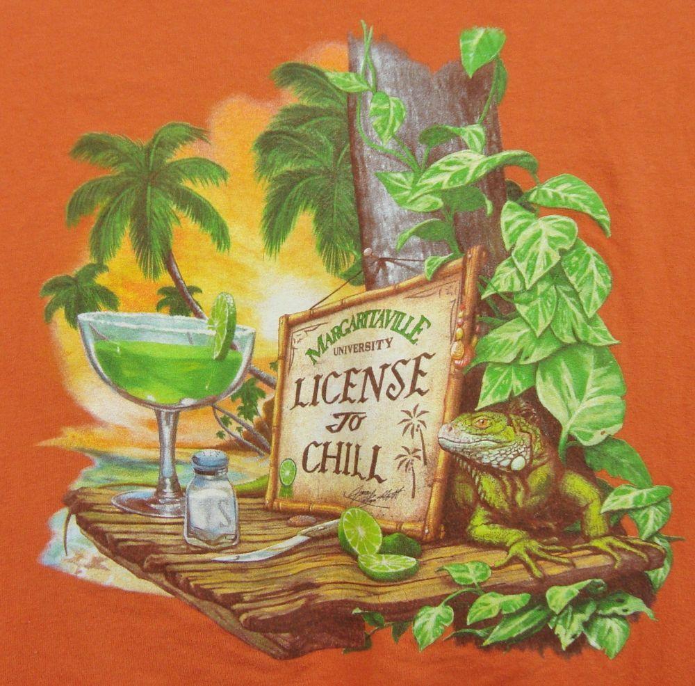 Margaritaville graphic tshirt mens xl orange license to