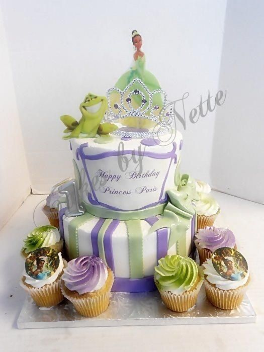 Princess Tiana Cake W Cupcakes Cakes By Nette Girl Cakes Pinterest